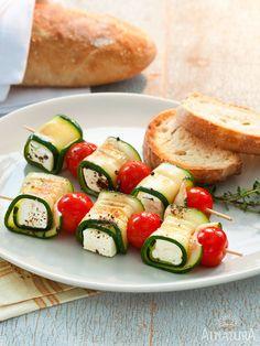 Zucchini Feta Grillspieße