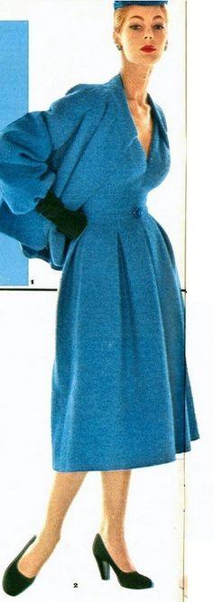 1953 Fiona Campbell-Walter in blue tweed dress and jacket by Christian Dior