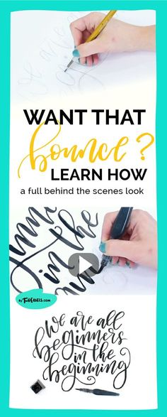 to add BOUNCE to your lettering. In this video I show you how to create that boncy look for your brush lettering pieces. This is a fun way to spice up your hand lettering. So take a look behind the scenes as I create this piece. Hand Lettering For Beginners, Hand Lettering Tutorial, Hand Lettering Fonts, Creative Lettering, Lettering Styles, Brush Lettering, Lettering Ideas, Modern Calligraphy Tutorial, Chalk Typography
