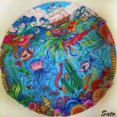 Meu oceano lindo!! My pretty ocean!! #johannabasford #prazeremcolorir #colorindolivrostop #coloringbook #lostoceancolors #lostocean #oceanocolorido #oceanoperdido #adultcoloring #coloriage #arttherapy #instaart #instagood #coloring_masterpieces