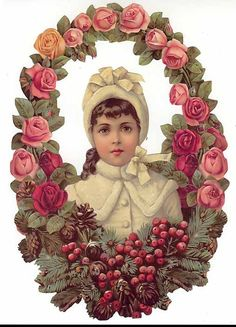 Large Victorian paper scrap from Germany ~ girl in rose and berry wreath