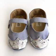 Baby Girl Shoes Gray Grey Canvas with Brogued Silver by ajalor, $30.00