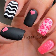 Very cute matte black and pink nails with chevrons, glitter and hearts #valentines...x