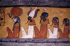 Ägyptische Malerei - Grab des Sennedjem, Götter/ Wandmalerei