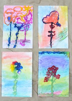 love this layered art process for kids.  salt painting is so addicting.