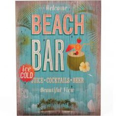 """Beach Bar"" Retro Style Kitsch Plaque Sign"