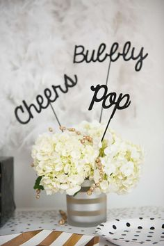 New Year's party table centerpieces! See more party planning ideas at CatchMyParty.com!