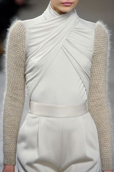 Oyster grey crossover top with knitted sleeves; chic fashion details // Doo.Ri Fall 2012