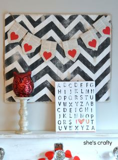 She's crafty: Valentine's Day mantle