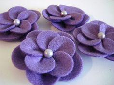 Set of 4pcs handmade felt flower - purple (RP)
