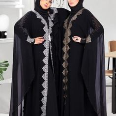 Faimatou Abaya - Black Butterfly Abaya Gold or Silver Embroidery Muslim Dress Code, Butterfly Abaya, Black Abaya, Chiffon Material, Islamic Clothing, Gold Embroidery, Muslim Women, Kimono Top, Clothes For Women