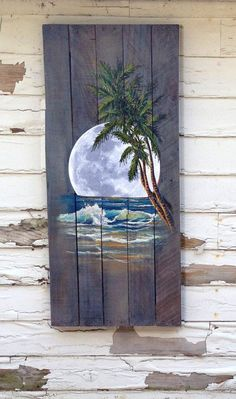 Wood Pallet Sign - Ocean night with Palm Tree and Moon Pallet Painting, Painting On Wood, Painting & Drawing, Painting Canvas, House Painting, Painted Pallet Signs, Hand Painted Signs, Wood Signs, Diy Signs