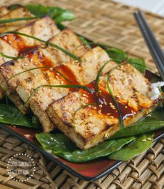 Delicious Spicy recipe for Grilled Marinated Tofu.I love love tofu♡ Tofu Recipes, Spicy Recipes, Asian Recipes, Vegetarian Recipes, Healthy Recipes, Healthy Food, Recipies, Eating Healthy, Vegan Food