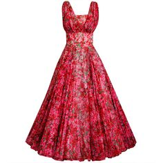 1950's Watercolor Red & Pink Roses Floral Silk-Chiffon Gown ❤ liked on Polyvore