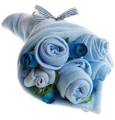 Traditional Baby Blues Clothes Bouquet. http://www.sayitbaby.co.uk/Traditional-Baby-Blues-Clothes-Bouquet-p/tradbbqt.htm