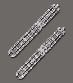 AN IMPORTANT PAIR OF ART DECO DIAMOND BRACELETS, BY CARTIER Each composed of three independent circular, navette, marquise and baguette-cut diamond lines, intersected by pavé-set diamond sculpted motifs, mounted in platinum, (may also be worn as a choker, 13¼ ins.), circa 1930, 6 5/8 and 7 ins. Signed Cartier, n