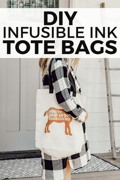 How to use infusible ink to make adorable custom canvas tote bags! These are sooo cute and Infusible Ink is such a great new product to have! Cricut Craft Machine, Cricut Craft Room, Diy Craft Projects, Craft Ideas, Project Ideas, Diy Crafts, How To Use Cricut, Cute Canvas, Thrift Store Crafts