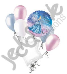 7 pc Cinderella Sparkle Disney Princess Heart Balloon Bouquet Happy Birthday