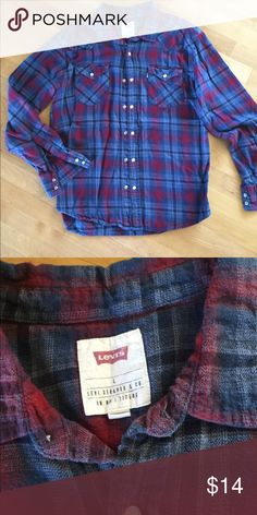 Red and blue plaid snap front shirt Pearl snaps. 100% cotton. BH Levi's Shirts Casual Button Down Shirts