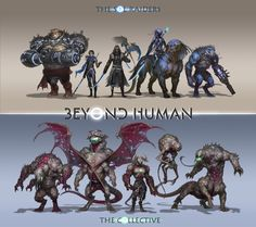 These are the five hero and villain character designs that I'd submitted to the portion of the Beyond Human Character art Challenge. Monster Design, Monster Art, Creature Concept Art, Creature Design, Mythical Creatures Art, Fantasy Creatures, Dnd Characters, Fantasy Characters, Character Concept