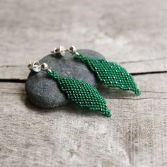 Green beaded earrings beadwork leaf earring by Naryajewelry