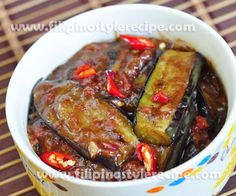 Filipino Style Recipe: Spicy Pork and Eggplant is consist of fried eggplant and ground pork sauteed and cooked in spicy thick sauce. Filipino Vegetable Recipes, Filipino Recipes, Asian Recipes, Filipino Food, French Recipes, Vietnamese Recipes, Pork Recipes, Cooking Recipes, Vegetarian Recipes