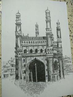 Charminar is love Hand Fist, Art Sketches, Sketching, Taj Mahal, Louvre, Drawings, Building, Travel, Viajes