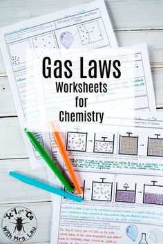 Gas Laws Chemistry Homework Page Unit Bundle These detailed gas law worksheets include topics like Boyle& Law, Gay-Lussac& Charles& Law, kinetic molecular theory, and partial pressures! Science with Mrs. Chemistry Worksheets, Chemistry Lessons, Teaching Chemistry, Science Chemistry, Physical Science, Science Lessons, Earth Science, Science Experiments, Science Week