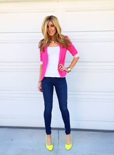 Pink blazer, yellow shoes. LOVE