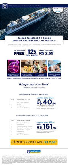 Cambio congelado a bordo do RHAPSODY OF THE SEAS da ROYAL CARIBBEAN! Viaje pela PicadoTur, a agência de viagem para atender você e sua viagem! picadotur@gmail.com (13)981534577 www.picadotur.com.br | Redes sociais: Facebook, Twitter, Pinterest, Skype, WhatsApp, e muito mais.