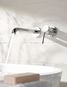 Bateria umywalkowa podtynkowa Grohe Essence New 19408001 - sklep eLazienki Bath Mixer, Chrome Finish, Bathroom Accessories, Basin, Shower, Wall, Modern, Powder Room, Rain Shower Heads