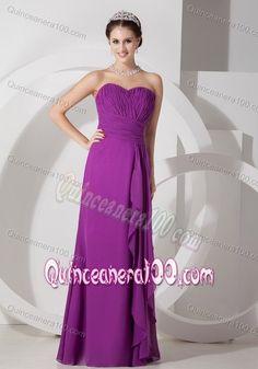 Empire Sweetheart Purple Chiffon Ruched and Ruffled Dama Dress
