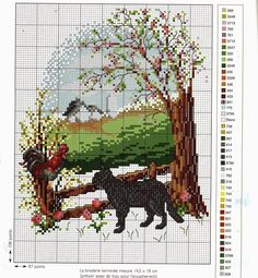 """""""Black Cat and Chicken"""" Counted cross stitch pattern. With color chart."""