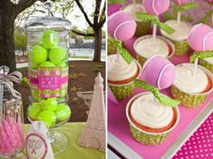 Preppy Tennis Party - Would need different colors for boys but how cute!
