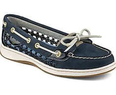 Angelfish Cane Woven Boat Shoe, Navy Cane. Adore these in navy.