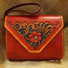Leather handbag clutch small tooled carved leathercraft red gift by CARACODA on Etsy