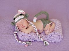 Having a sale Girl sock monkey hat and diaper cover by cherryscan, $19.00