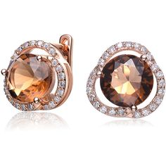 Collette Z Rose Gold Plated Bronze Cubic Zirconia Knob Earrings ($54) ❤ liked on Polyvore featuring jewelry, earrings, gold, cz earrings, rose stud earrings, clear crystal earrings, rose gold plated earrings and cz jewelry