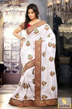 Alluring red and white bhagalpuri designer saree is looking beautiful with fine butti works and embroidery work on the border of stylish attire.  http://www.pavitraa.in/store/sarees/ #pavitraa, #sarees, #designersarees, #partywearsaree, #weddingsarees, #utsavesaree, #utsavfashion, #bridalsarees, #bollywoodsarees, #printedsarees, #onlinesarees, #onlineshopping, #lehengasarees