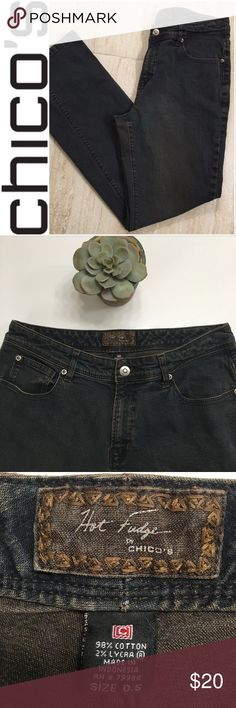 "💥Last Call! •Chico's• Hot Fudge Jeans Beautiful dark chocolate colored distressed jeans by Chicos! Perfect jeans for your fall wardrobe! Size 0.5 in Chico's brand is a size 6! The approx measurements are waist 30"", hip 38.5"", 10"" rise and 30"" inseam. They are in excellent used condition with hardly any wear!!! Chico's Jeans Straight Leg"