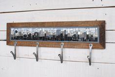 Items similar to Wall Coat Rack, Entryway Coat Hooks, Mosaic Coat Rack, Hand-forged Hooks, Reclaimed Wood Frame on Etsy Entryway Coat Hooks, Coat Hooks On Wall, Entryway Wall, Mosaic Glass, Mosaic Tiles, Stained Glass, White Coat Rack, White Art, Black And White