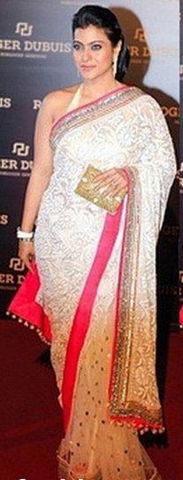 Kajol in Manish Malhotra White Chikankari Designer Saree