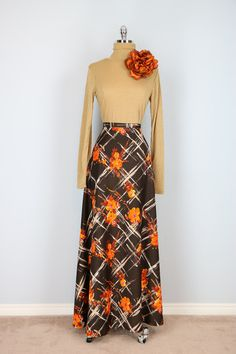 Vintage Late 1970's Brown Orange Floral Maxi Skirt by VintageBySuzanne on Etsy