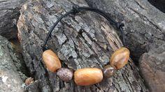 Bracelet, Olive Wood and Rhodonite gemstone beads, Hand carved Greek olive wood on an adjustable leather strap with Rhodonite gemstones,