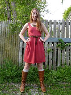 @whatwouldanerdwear wearing our Artemis Dress in Raspberry Red