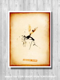 Jurassic Mosquito Poster, Jurassic Movie, Jurassic Minimalist, Jurassic Print, Mosquito prints, Wall Art, Nature Decor, Kid's room by PosterInvasion on Etsy