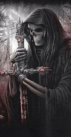 Skull of death Grim Reaper Art, Grim Reaper Tattoo, Don't Fear The Reaper, Grim Reaper Quotes, Dark Fantasy Art, Art Mort, Evvi Art, Death Art, Halloween Art