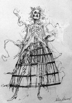 A costume sketchby Colleen Atwood for Mrs Lovett from the movie Sweeney Todd.