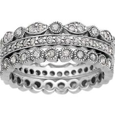 Platinum Luxe Antique Eternity Diamond Ring Stack
