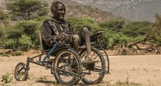 SafariSeat wheelchairs are inexpensive and can be made with bicycle parts. They're designed to be built and repaired in developing countries. A mechanism that imitates car suspension keeps all four wheels on the ground so users can navigate difficult terrain easily. The wheelchair is designed to minimize pressure sores, and rolls via pump levers that a rider can use.